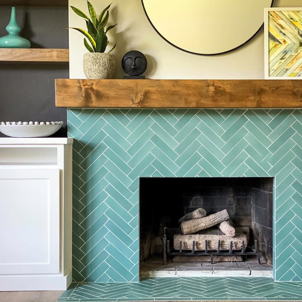 2x8 subway 'Everglade' encaustic cement tile , 5/8 inch thick, 5.28 square feet per box (48 tiles in each box)