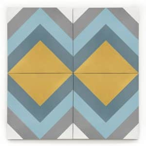 8x8 square 'Atlas' encaustic cement tile , 5/8 inch thick, 5.28 square feet per box (12 tiles in each box)