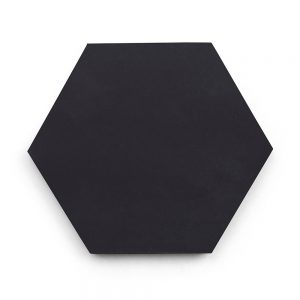 8x9 'Black' solid color hexagonal encaustic cement tile , 5/8 inch thick, 4.4 square feet per box (12 tiles in each box)