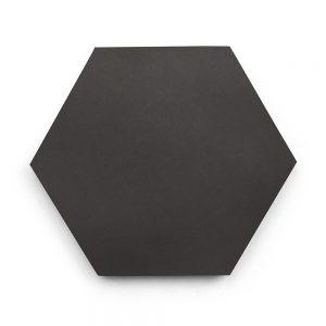 8x9 'Charcoal' solid color hexagonal encaustic cement tile , 5/8 inch thick, 4.4 square feet per box (12 tiles in each box)