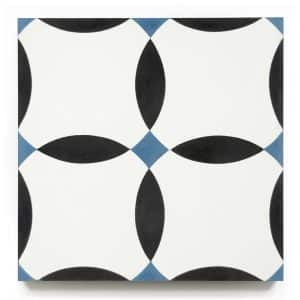 8x8 square 'Dickson' encaustic cement tile , 5/8 inch thick, 5.28 square feet per box (12 tiles in each box)