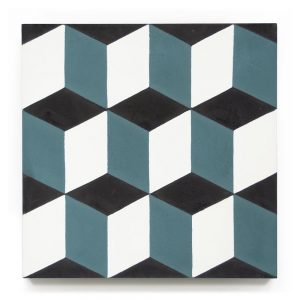 8x8 square 'Metric' encaustic cement tile , 5/8 inch thick, 5.28 square feet per box (12 tiles in each box)