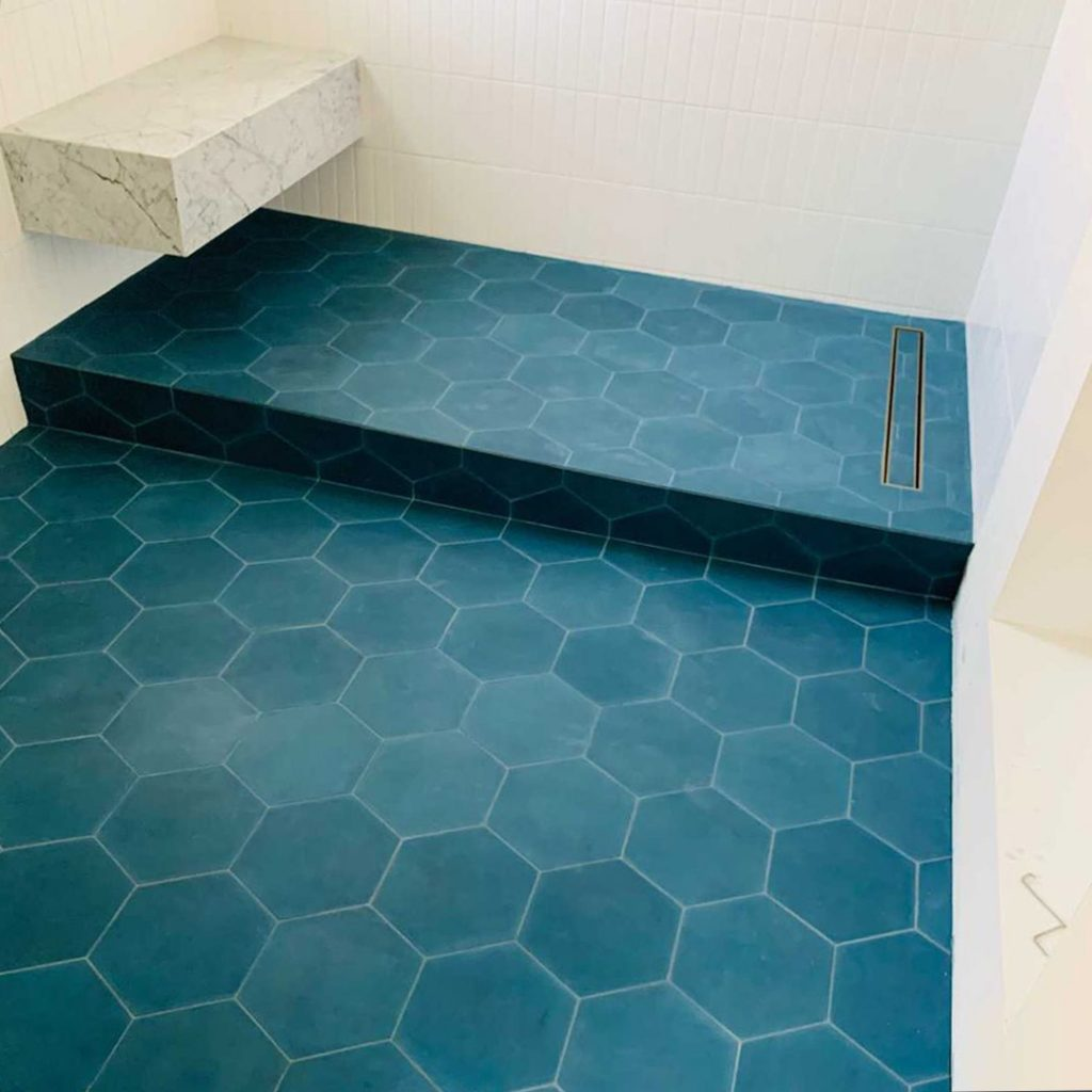8x9 'Midnight' solid color hexagonal encaustic cement tile , 5/8 inch thick, 4.4 square feet per box (12 tiles in each box)