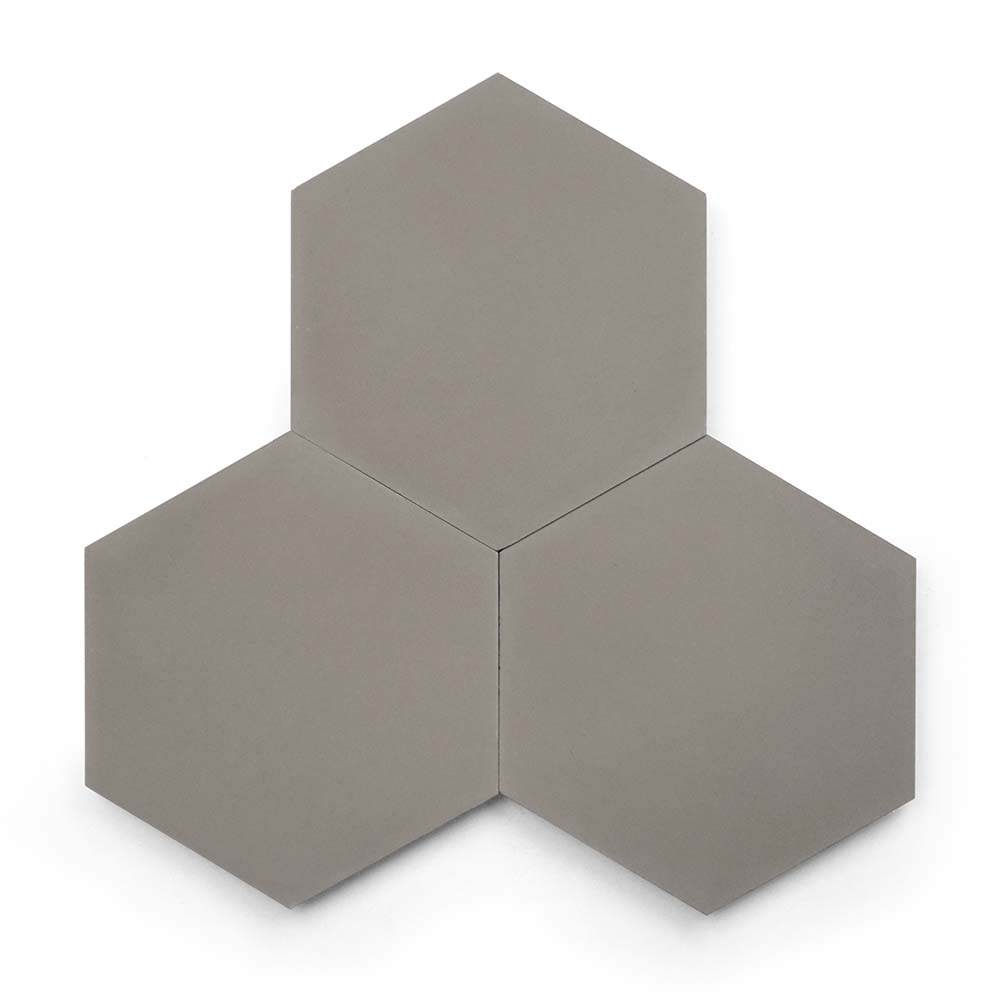8x9 'Pewter' solid color hexagonal encaustic cement tile , 5/8 inch thick, 4.4 square feet per box (12 tiles in each box)