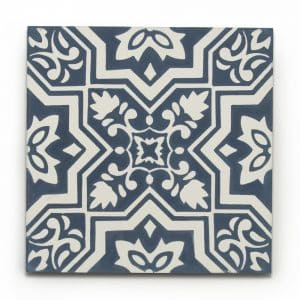 8x8 square 'Porto' encaustic cement tile , 5/8 inch thick, 5.28 square feet per box (12 tiles in each box)