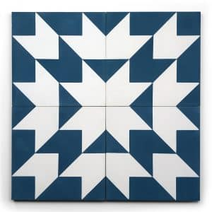 8x8 square 'target practice' encaustic cement tile , 5/8 inch thick, 5.28 square feet per box (12 tiles in each box)