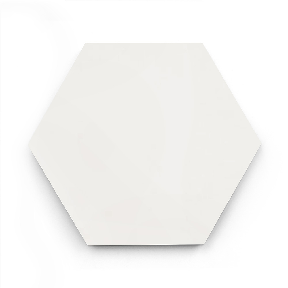 8x9 'White' solid color hexagonal encaustic cement tile , 5/8 inch thick, 4.4 square feet per box (12 tiles in each box)