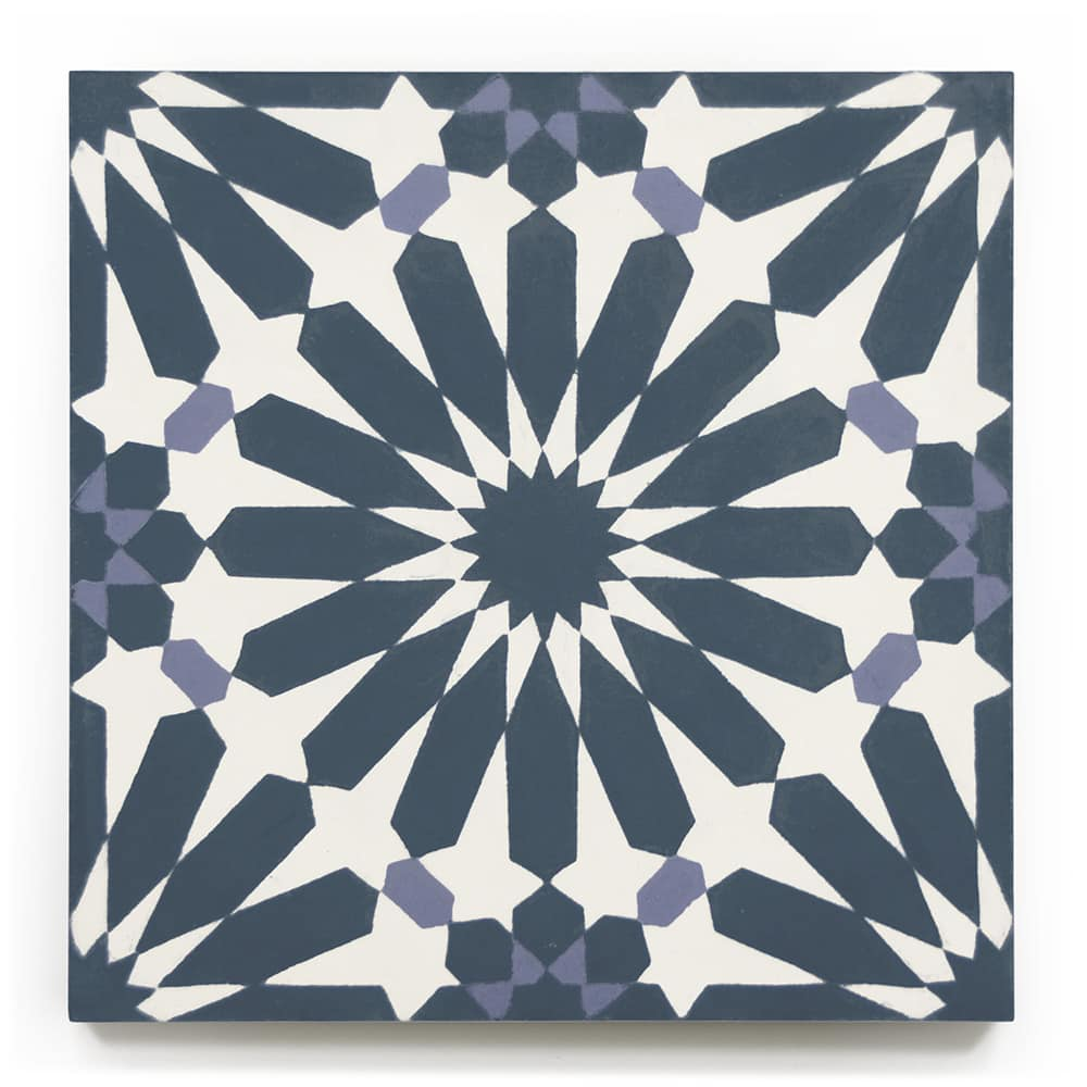 8x8 square 'cordoba' encaustic cement tile , 5/8 inch thick, 5.28 square feet per box (12 tiles in each box)