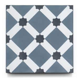 8x8 square 'Marrakech' encaustic cement tile , 5/8 inch thick, 5.28 square feet per box (12 tiles in each box)