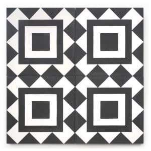 8x8 square 'Milano' encaustic cement tile , 5/8 inch thick, 5.28 square feet per box (12 tiles in each box)