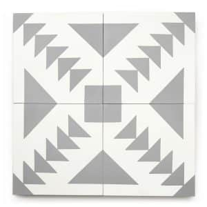 8x8 square 'Taos' encaustic cement tile , 5/8 inch thick, 5.28 square feet per box (12 tiles in each box)