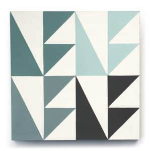8x8 square 'Wayfarer' encaustic cement tile , 5/8 inch thick, 5.28 square feet per box (12 tiles in each box)