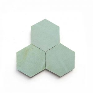 3.5 inch 'Absinthe' glazed terra-cotta zellige, 3/8 inch thick, 7.69 square feet per box (100 tiles)