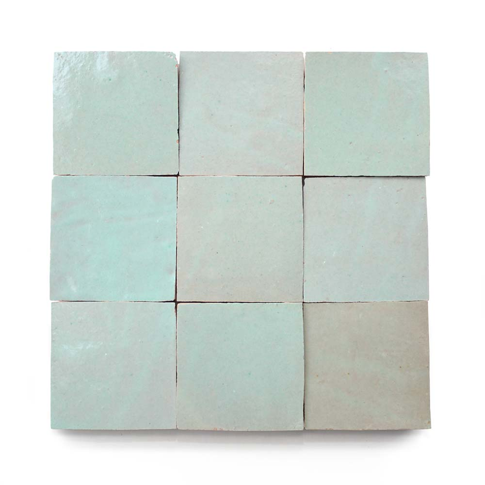 4x4 'Absinthe' glazed terra-cotta zellige, 3/8 inch thick, 10.76 square feet per box (100 tiles)