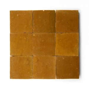 4x4 'Amber Zellige' glazed terra-cotta zellige, 3/8 inch thick, 10.76 square feet per box (100 tiles)