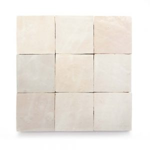4x4 'Casablanca White' glazed terra-cotta zellige, 3/8 inch thick, 10.76 square feet per box (100 tiles)