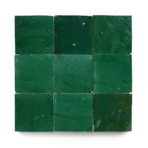 4x4 'Jade' glazed terra-cotta zellige, 3/8 inch thick, 10.76 square feet per box (100 tiles)