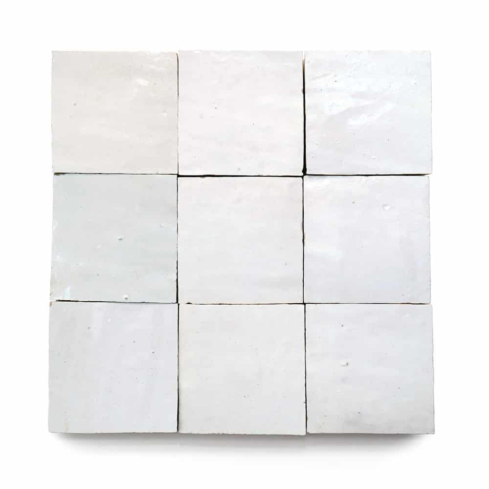 4x4 'Pure White' glazed terra-cotta zellige, 3/8 inch thick, 10.76 square feet per box (100 tiles)