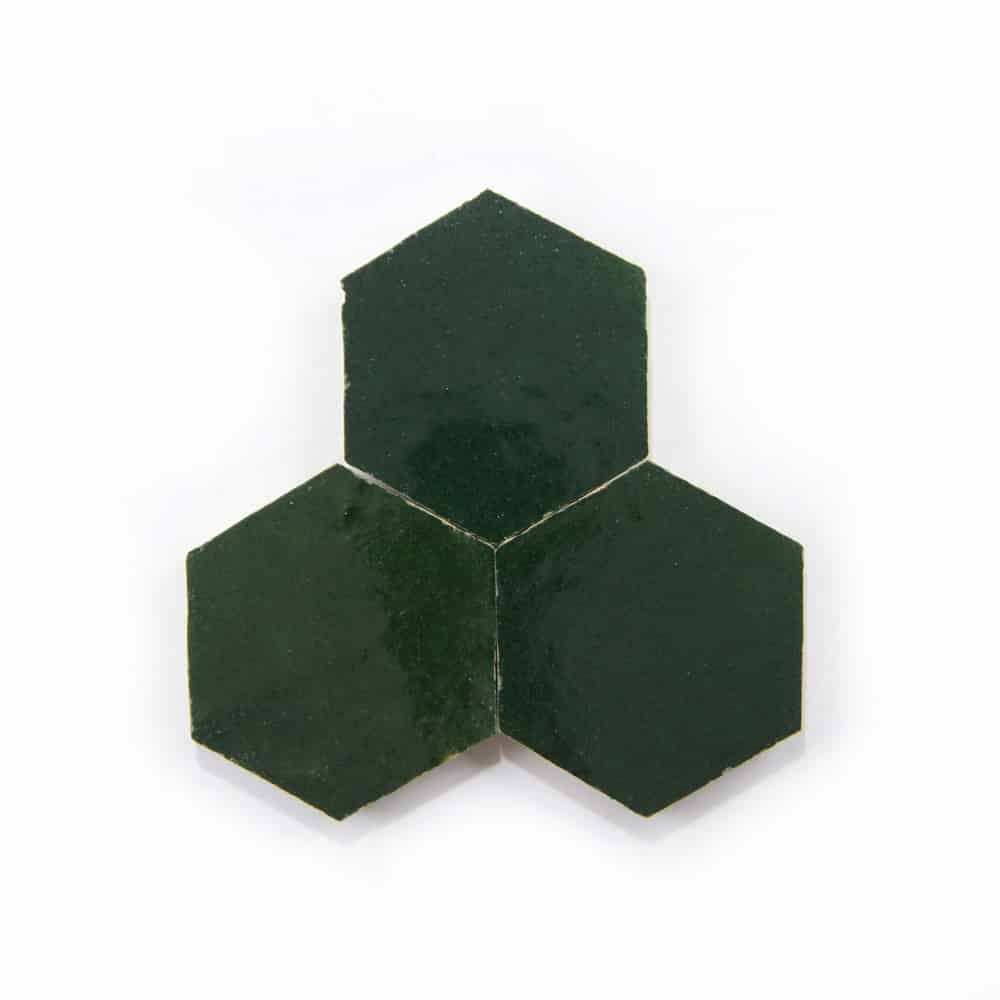 3.5 inch 'Racing Green' glazed terra-cotta zellige, 3/8 inch thick, 7.69 square feet per box (100 tiles)