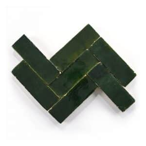 2x6 'Racing Green' glazed terra-cotta zellige, 3/4 inch thick, 7.23 square feet per box (90 tiles)