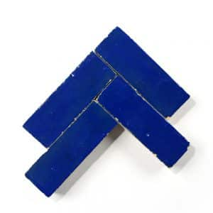 2x6 'Moroccan Blue' glazed terra-cotta zellige, 3/4 inch thick, 7.23 square feet per box (90 tiles)