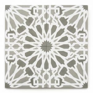 8x8 'Cadiz' encaustic cement tile , 5/8 inch thick, 5.28 square feet per box (12 tiles in each box)