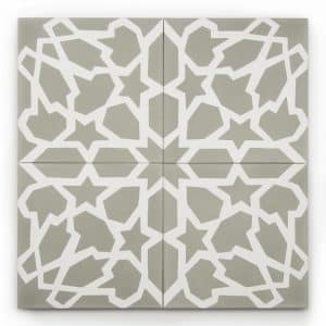 8x8 square 'Tangier' encaustic cement tile , 5/8 inch thick, 5.28 square feet per box (12 tiles in each box)