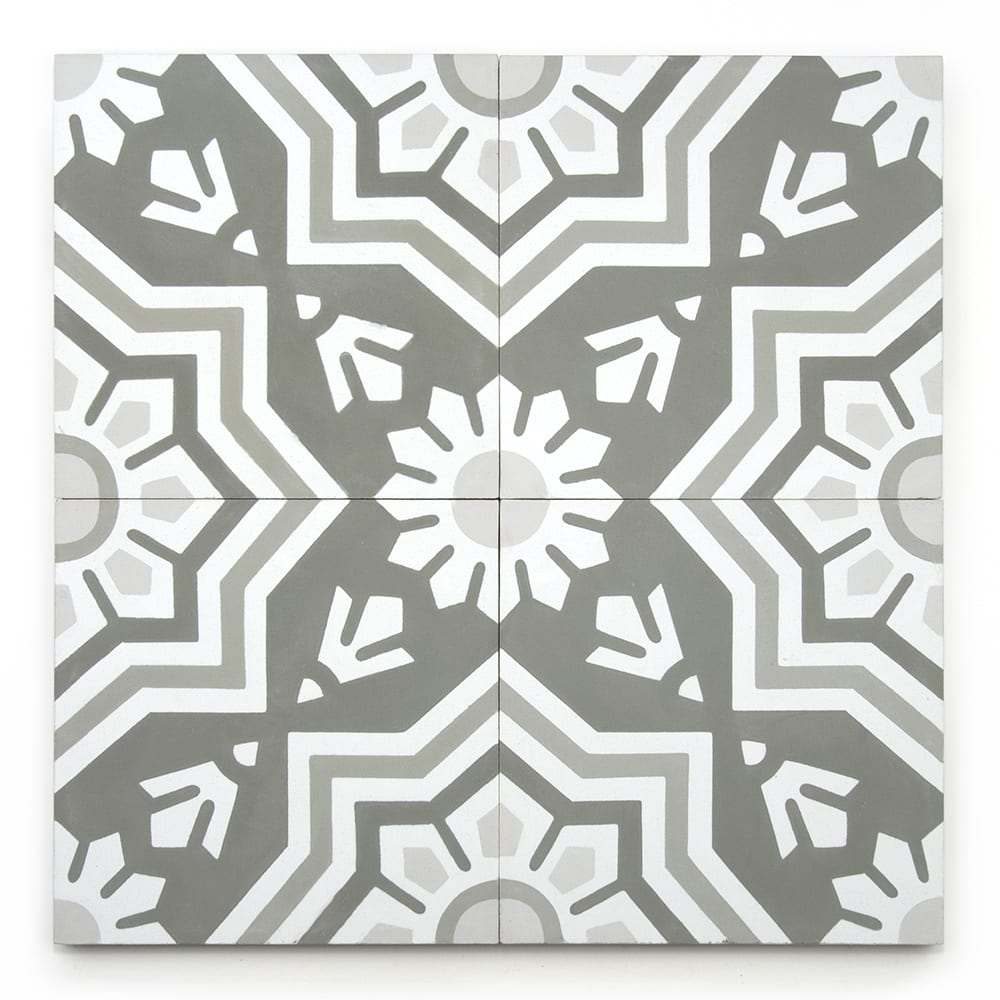 8x8 'Wiltern' encaustic cement tile , 5/8 inch thick, 5.28 square feet per box (12 tiles in each box)
