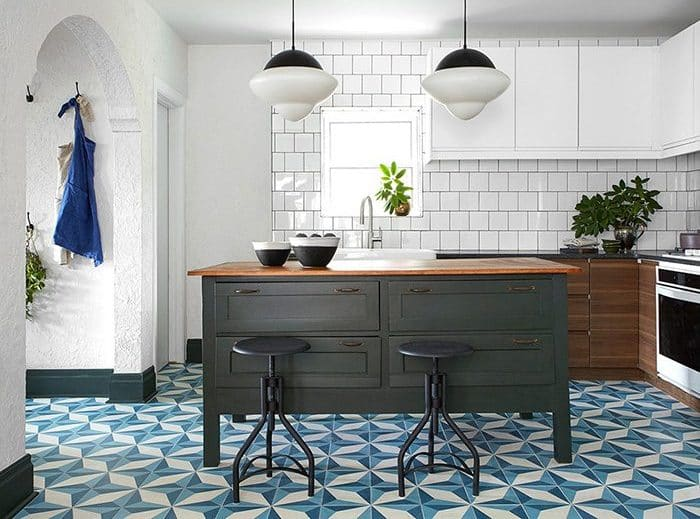 Cairo cement tile in midnight, denim blue and white featured on 'Restored by the Fords'