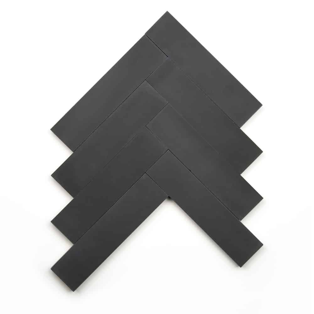 2x8 subway 'Charcoal' encaustic cement tile , 5/8 inch thick, 5.28 square feet per box (48 tiles in each box)