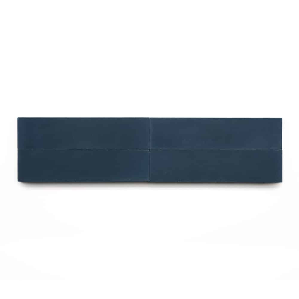 2x8 inch subway 'Midnight' encaustic cement tile , 5/8 inch thick, 5.28 square feet per box (48 tiles in each box)