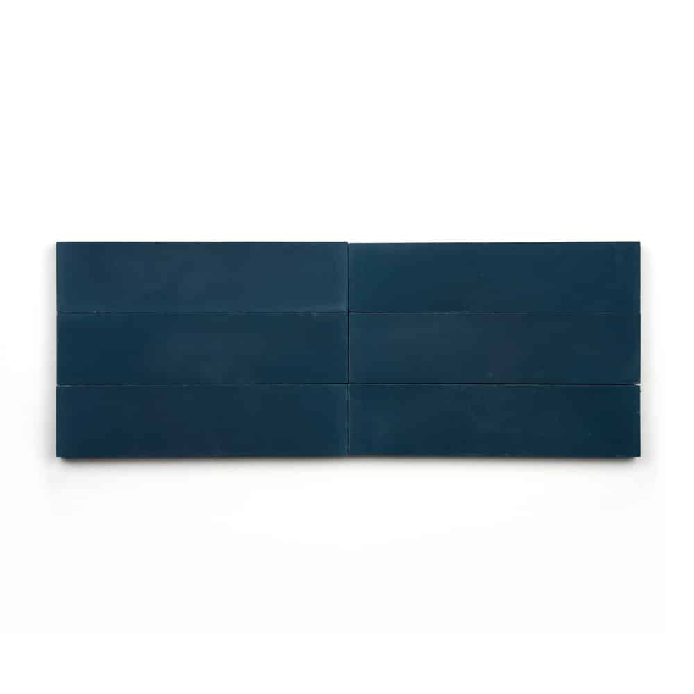 2x8 subway 'Midnight' encaustic cement tile , 5/8 inch thick, 5.28 square feet per box (48 tiles in each box)