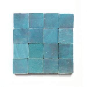 2x2 'Glacier Blue' glazed terra-cotta zellige, 3/8 inch thick, 10.76 square feet per box (400 tiles)