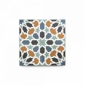4x4 square 'Tangier' encaustic cement tile , 5/8 inch thick, 5.28 square feet per box (48 tiles in each box)