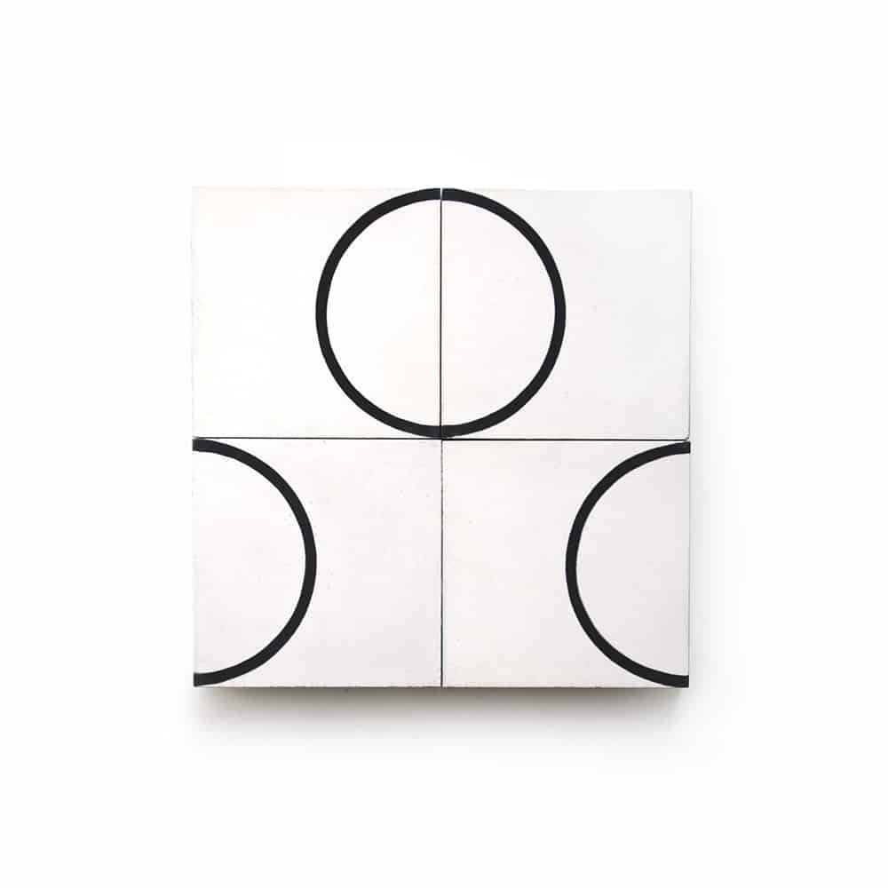 4x4 square 'Circle' encaustic cement tile , 5/8 inch thick, 5.28 square feet per box (48 tiles in each box)