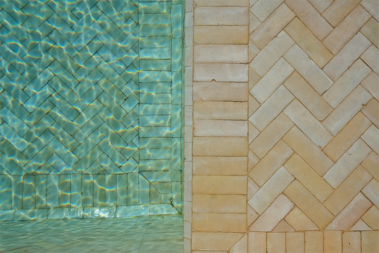 2x6 'Unglazed Natural' terra-cotta zellige, 3/4 inch thick, 7.23 square feet per box (90 tiles)