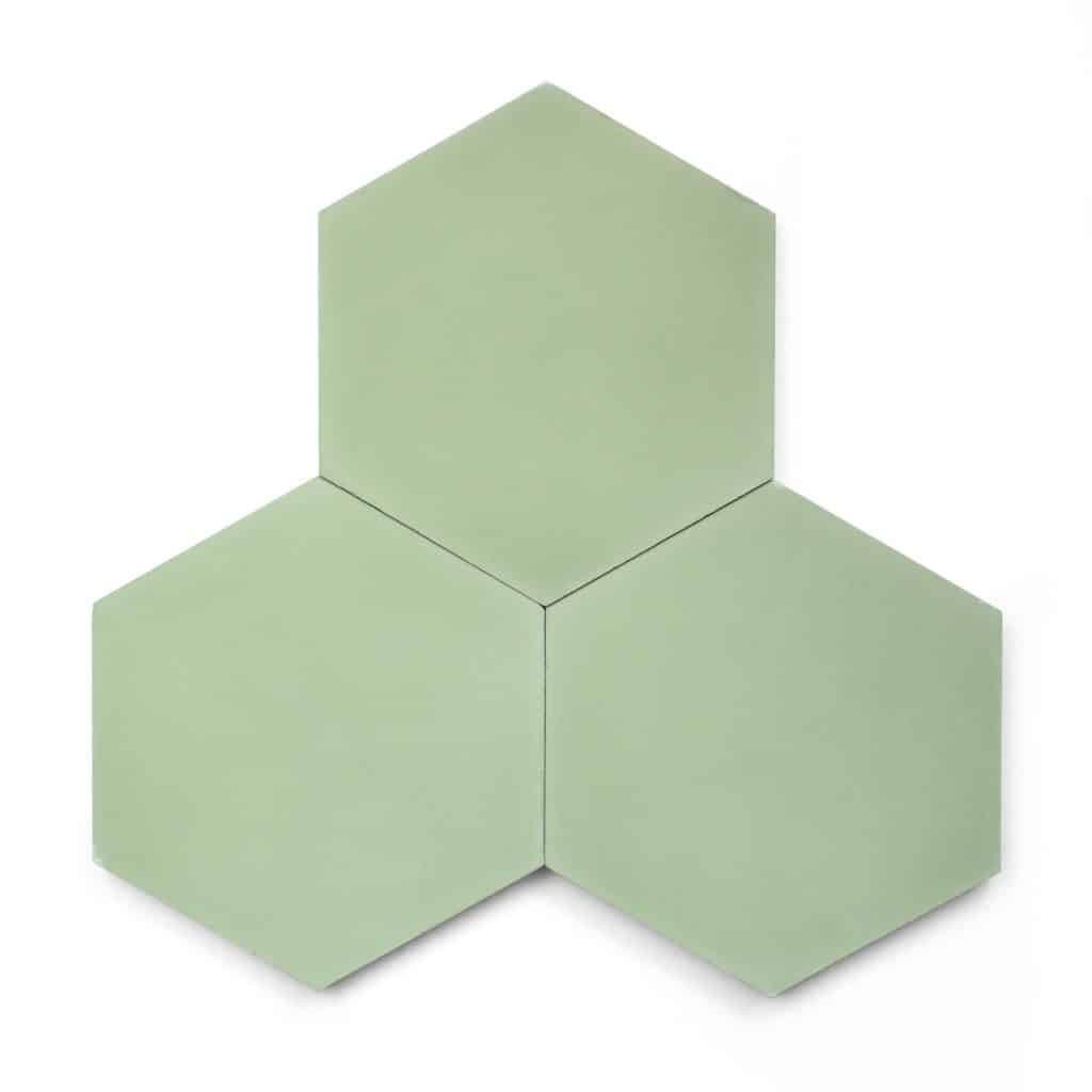 8x9 'Nile' solid color hexagonal encaustic cement tile , 5/8 inch thick, 4.4 square feet per box (12 tiles in each box)