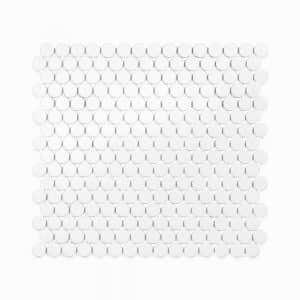 "3/4"" White Ceramic Penny Tiles, 1/4 inch thick, 10.76 square feet per box (10 sheets)"