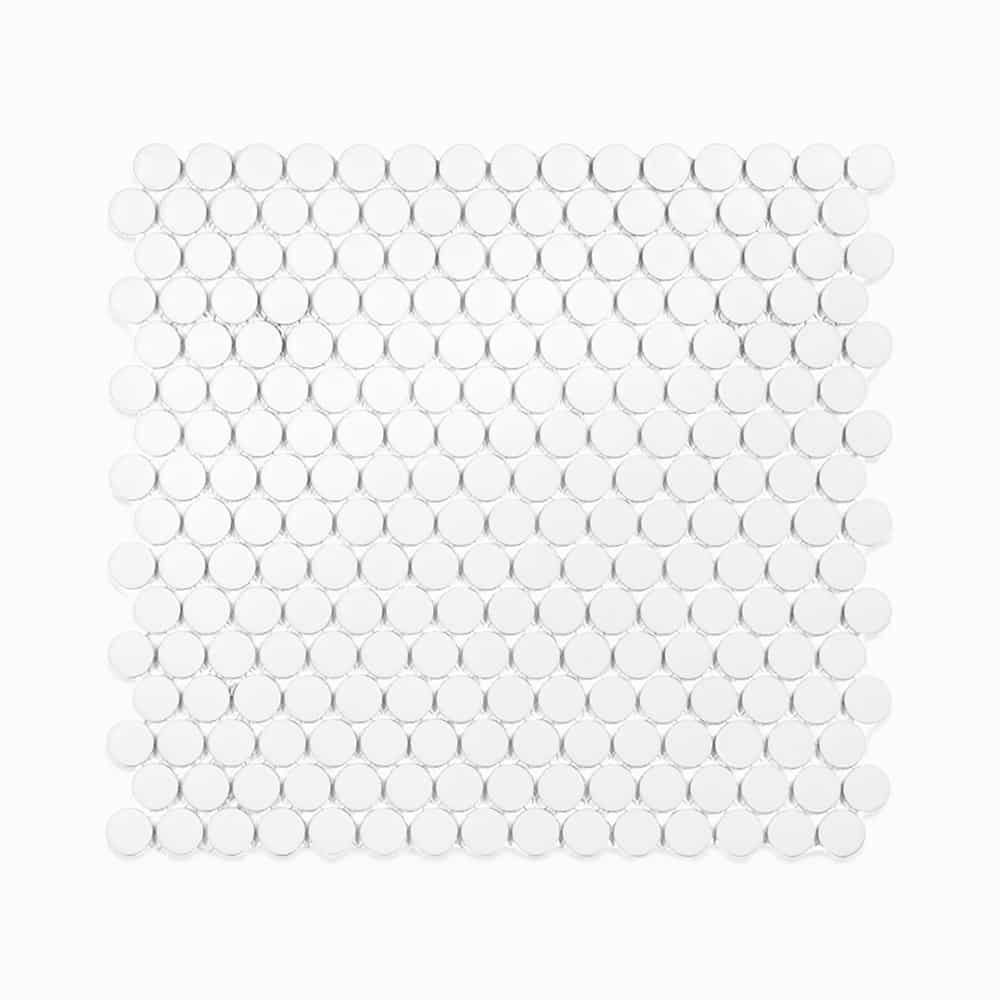 """3/4"""" White Ceramic Penny Tiles, 1/4 inch thick, 10.76 square feet per box (10 sheets)"""
