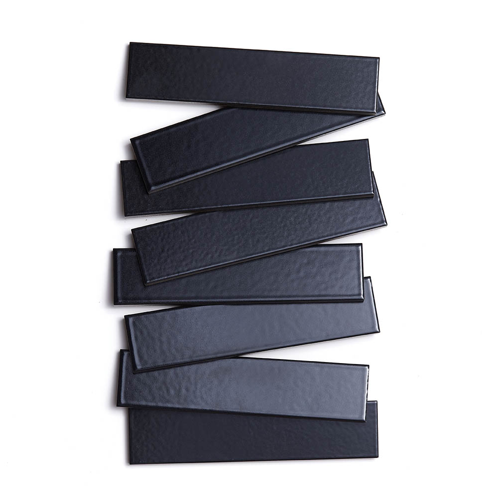 2x8 subway 'Cosmic Black' high fired ceramic tile, 3/8 inch thick, 16.67 square feet per box (150 tiles in each box)