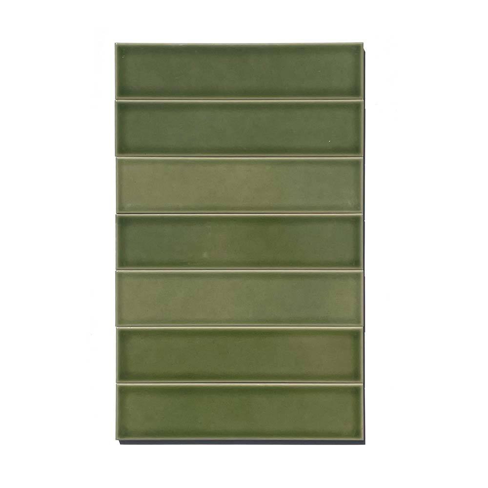 2x8 subway 'Kelp Forest' high fired ceramic tile, 3/8 inch thick, 16.67 square feet per box (150 tiles in each box)